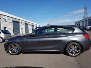 grey m140i lowered with eibach springs