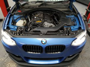 Blue M135i Engine bay