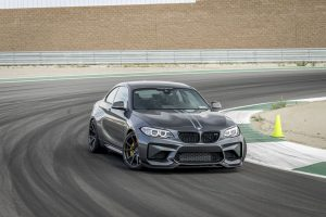 Carbon fibre front splitter for bmw m2 by vorsteiner on track
